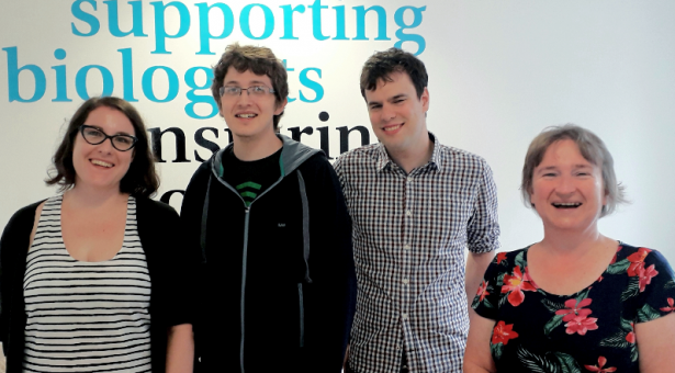 Photo: from left to right -  Julija Hmeljak (Reviews Editor), Sam Holden (PIPS Data Intern), Máté Pálfy (preLights Community Manager) and Claire Moulton (Publisher).